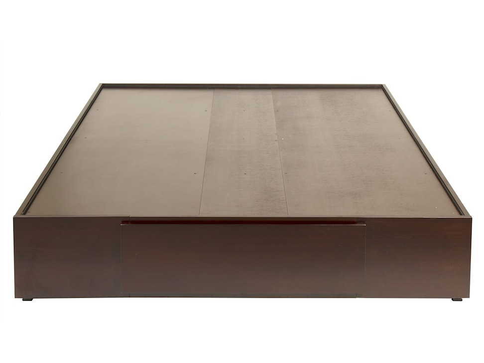 Base para cama queen size contempor nea tabaco habana for Base de cama queen size con cajones
