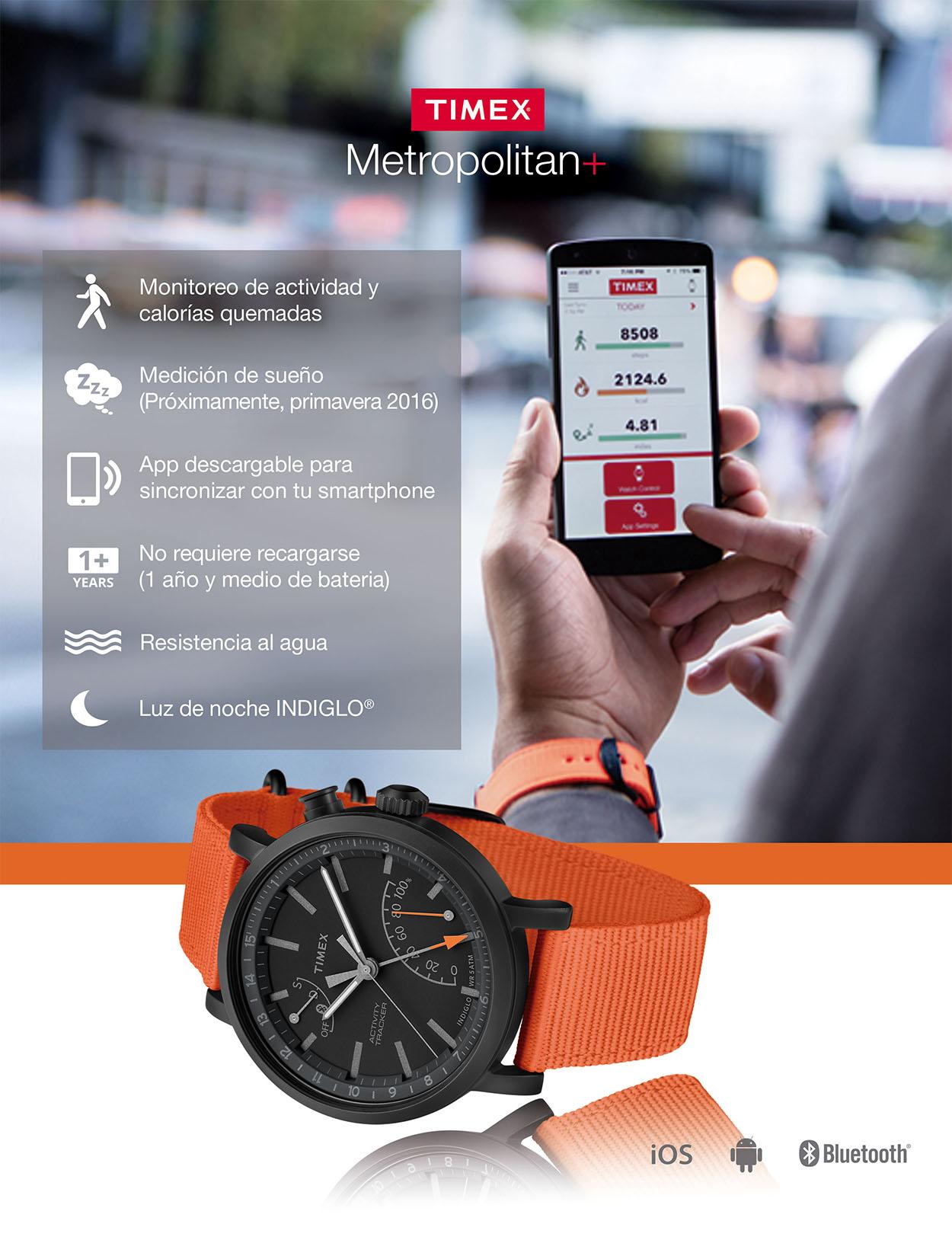 654384565e90 Reloj Smartwatch para caballero Timex Metropolitan TWG012600 negro